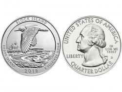 Монета 25 центов 2018 год Убежище дикой природы острова Блок - Род-Айленд, UNC фото