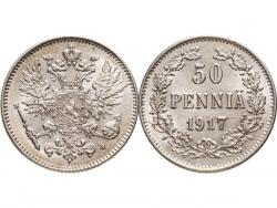 Монета 50 пенни Финляндия в составе Российской Империи 1917 год (штемпельный блеск) фото