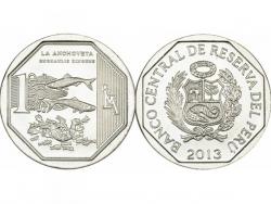 Монета 1 соль 2013 год Перуанский анчоус, UNC фото