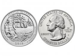 Монета 25 центов 2018 год Национальные озёрные побережья островов Апостол - Висконсин, UNC фото