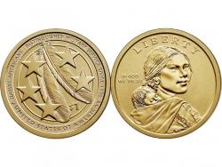Монета 1 доллар 2021 год Индейцы в армии США, UNC  фото