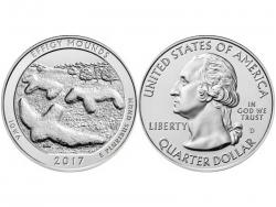 Монета 25 центов 2017 год Национальный парк Эффиджи-Маундз - Айова, UNC фото