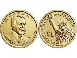 Монета 1 доллар 2020 Президенты: Джордж Буш старший, UNC фото