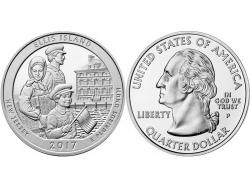 Монета 25 центов 2017 год Остров Эллис - Нью-Джерси, UNC фото