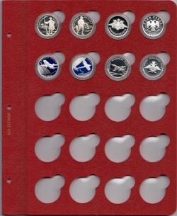 Лист для монет в капсулах диаметром 31 мм (красный) фото