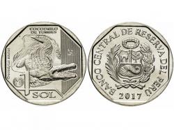 Монета 1 соль 2017 год Острорылый крокодил, UNC фото