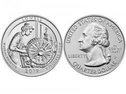 Монета 25 центов 2019 год Лоуэлл, UNC фото