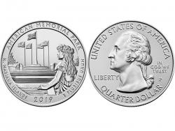 Монета 25 центов 2019 год Американский мемориальный парк, UNC фото