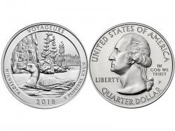 Монета 25 центов 2018 год Национальный парк Вояджерс - Миннесота, UNC фото