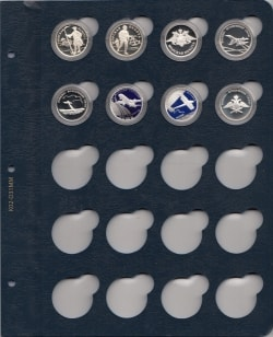 Лист для монет в капсулах диаметром 34 мм (синий) фото