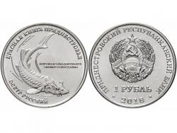 Монета 1 рубль 2018 год Осетр русский, UNC фото