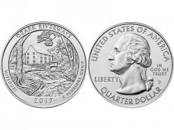 Монета 25 центов 2017 год Национальные водные пути Озарк - Миссури, UNC фото