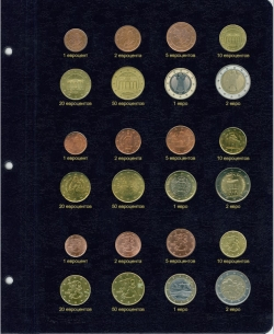 Лист для монет Евро наборов фото