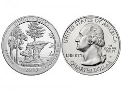 Монета 25 центов 2018 год Национальное побережье живописных камней - Мичиган, UNC фото