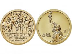 Монета 1 доллар 2019 год Попечительские сады, UNC фото