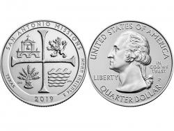 Монета 25 центов 2019 год Национальный исторический парк миссий Сан-Антонио, UNC фото