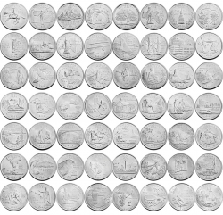 Набор монет 25 центов 1999-2009 года серии Штаты и территории США, UNC фото