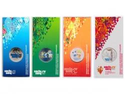 Набор монет 25 рублей 2011-2014 года Олимпиада Сочи-2014 в специальном исполнении (цветные), UNC фото