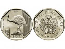 Монета 1 соль 2018 год Страус Нанду, UNC фото