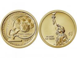 Монета 1 доллар 2019 год Вакцина против полиомиелита, UNC фото